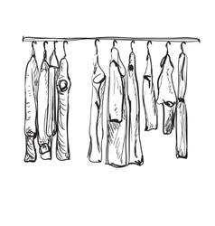 Hand drawn wardrobe sketch autumn clothes vector