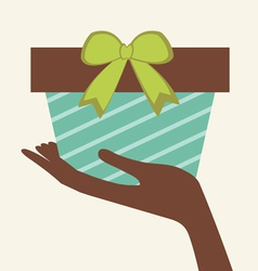Hand holding gift vector image