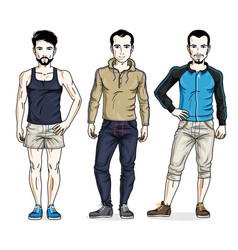 Handsome young men standing in stylish sportswear vector