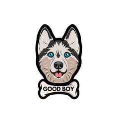 husky dog with bone good boy lettering vector image vector image