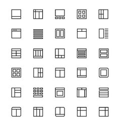 Layout line icons 3 vector