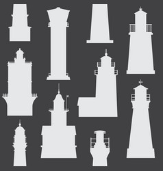 lighthouses and searchlights icons vector image