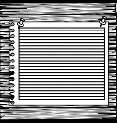 monochrome striped notebook sheet in blank on wood vector image