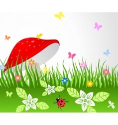 mushroom on glade vector image vector image