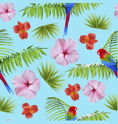 Paradise summer pattern with tropical decoration vector