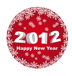 Red circle happy new year 2012 isolated over white vector