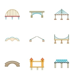 River crossing icons set cartoon style vector image vector image