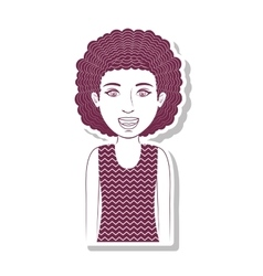 Silhouette teenager with curly hair vector