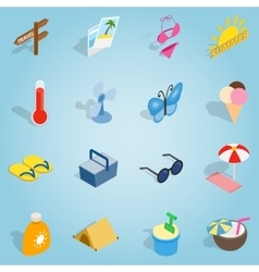 Summer set icons isometric 3d style vector image vector image