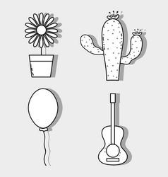 sunflower cactus balloon and guitar festa junina vector image vector image