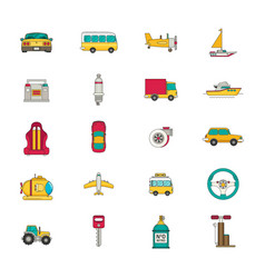 Transportation icon set flat vector
