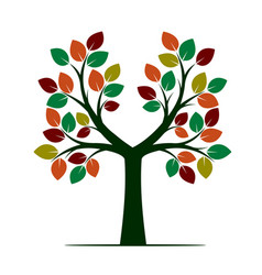 Tree with color leafs vector