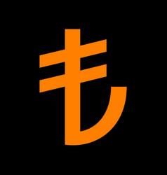 Turkiey lira sign orange icon on black background vector