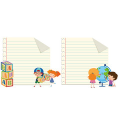 Two paper template with kids and toys vector