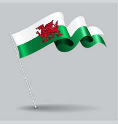 Welsh pin wavy flag vector