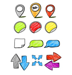 Hand-drawn symbols collection vector image