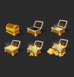 Isometric treasure chests animation set vector