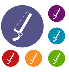 surgical saw icons set vector image