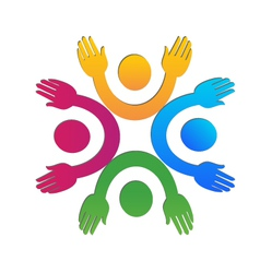 Hands up team logo vector image