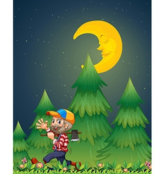 A lumberjack walking happily while carrying an axe vector image