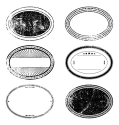Grunge oval stamp set vector
