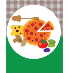 pizza on plate vector image