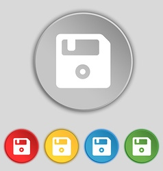 Floppy icon sign symbol on five flat buttons vector