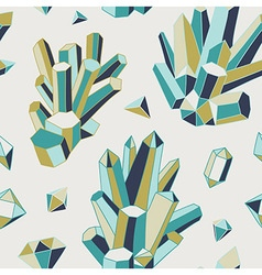 Crystal heart - seamless pattern vector