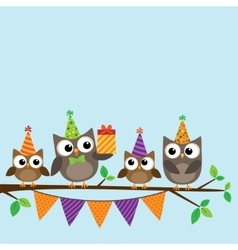 Party owls card vector