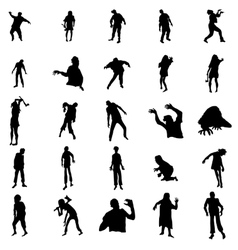 Zombie silhouettes set vector