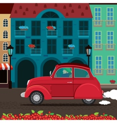 Retro car rides through the old town vector
