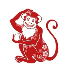 Red monkeychinese zodiac sign with flowers vector