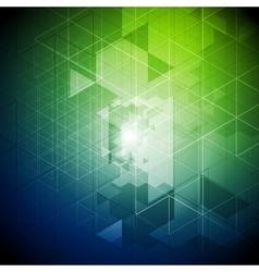 Blue green tech triangles pattern vector