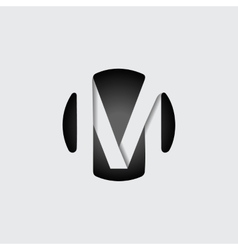 Letter m made of wide white stripes vector