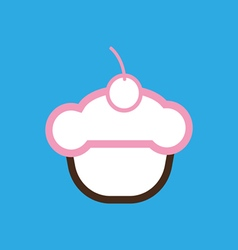 Card with a cream cake with a cherry on top vector
