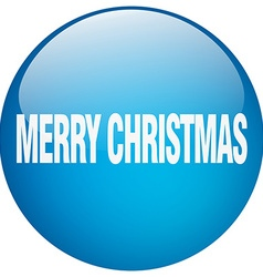 Merry christmas blue round gel isolated push vector
