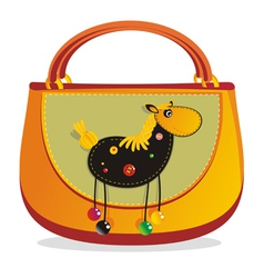Horse decorated handbag vector
