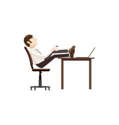 Man sitting with feet on table icon cartoon style vector