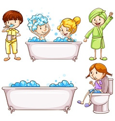 Children brushing teeth and taking bath vector