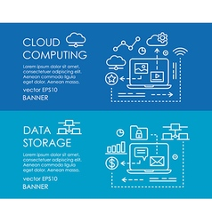 Line art web banner for cloud computing and data vector