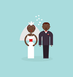 African american bride and groom vector