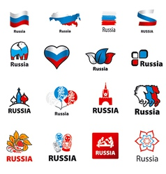 biggest collection of logos Russia vector image vector image