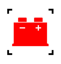 car battery sign red icon inside black vector image