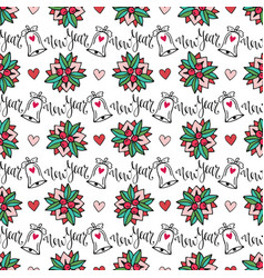 Christmas seamless background with bells and vector