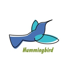 Contoured blue hummingbird in flight logo vector image vector image
