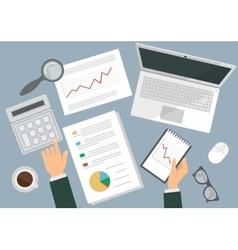 Desk of a businessman Flat top view vector image vector image