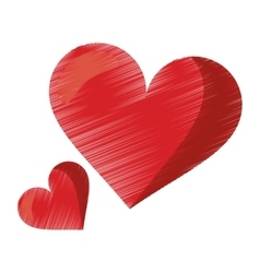 Drawing cute red heart love romantic symbol vector