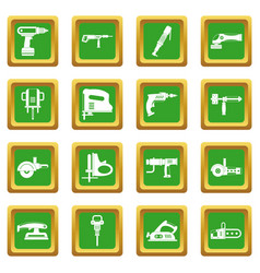 Electric tools icons set green vector