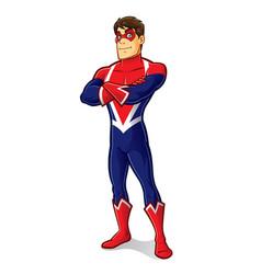 friendly superhero crossing arm vector image vector image