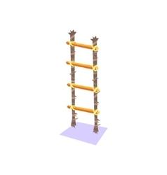 Handmade ladder standing vertically jungle village vector